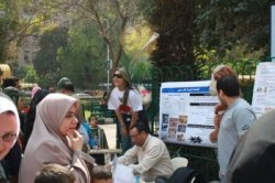 Awareness event 26th March 2010 - Giza Zoo - Pic:  Dr. Kohar Garo (left) session:  birds and hunting, Mr. Sherbiny, Mohamed Tharwat